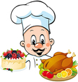 chef hold meal vector image