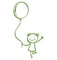 A girl holding a balloon vector image vector image