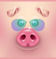 Background with 3d funny cartoon pig face