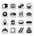 Bakery pastry buttons set - bread donut cake vector image vector image