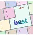 Best button on keyboard with soft focus vector image vector image