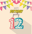 birthday card with candle number twelve vector image