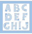 Blue fabric alphabet Letters A B C E F G H I J vector image vector image