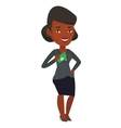 Business woman putting money bribe in pocket vector image vector image