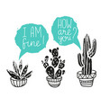 cactus hand-drawn poster grunge silhouette print vector image vector image