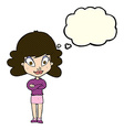 cartoon happy woman with folded arms with thought vector image vector image