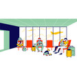 characters in airport waiting boarding travelers vector image vector image