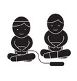 children playing computer game black vector image