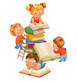 children reading books in the library vector image vector image