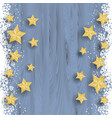 christmas stars on snowy wood background vector image vector image