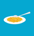 corn porridge in plate and spoon isolated healthy vector image