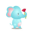 cute blue elephant is going to make a gift to vector image vector image