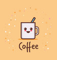 cute cup coffee cartoon comic character vector image vector image