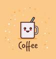 cute cup coffee cartoon comic character vector image