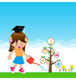 Cute little girl with tree education concept on vector image vector image