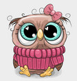 cute owl in pink sweater vector image vector image