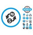 Dollar Shekel Exchange Flat Icon with Bonus vector image vector image