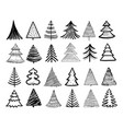 doodle christmas tree winter holiday hand drawn vector image vector image