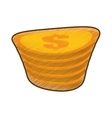 drawing golden coin pile dollar vector image