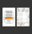 fast food premium menu template restaurant or vector image vector image