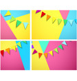 festive backgrounds with garland of colorful flags vector image vector image