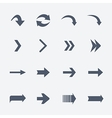 Flat collection of arrows icons isolated on vector image