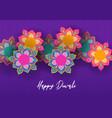 happy diwali festival card indian papercut flower vector image vector image