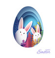happy easter greeting card with paper cut bunny vector image