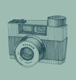 hipster photo camera with flash engraved retro sty vector image vector image