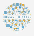 human thinking concept in circle vector image