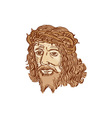 Jesus Christ Face Crown Thorns Etching vector image vector image