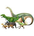 Many dinosaurs on white background vector image vector image