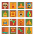 mexican icons vector image vector image