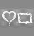 milk splash frames rectangle and heart shape set vector image