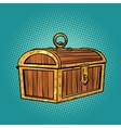 Pirate wood treasure chest closed vector image vector image