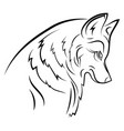portrait a wolf black and white vector image vector image