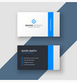 professional blue minimal style business card vector image vector image