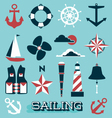 Sailing Icons and Symbols vector image vector image