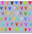 Seamless pattern with colored hand drawn hearts vector image vector image