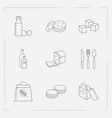 set of food icons line style symbols with loaf vector image