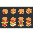 set of isometric burgers and sandwiches vector image