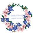 spring is coming card with cherry flowers wreath vector image