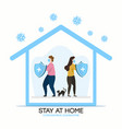 stay home family at quarantine or self-isolation vector image