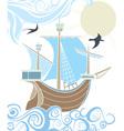 Stencil sailing vessel vector image vector image
