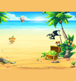 summer coast with a chest parrot palm tree vector image