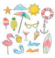 summer elements design set with hand drawn vector image