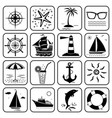 summer sea vacation travel icons set vector image vector image