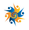 teamwork swirly business people logo vector image vector image