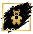 teddy bear sign golden icon vector image
