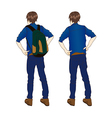 Traveler Man Turn Back Standing vector image